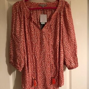 NWT Daniel Rainn for Anthro orange/white blouse 2X